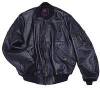 Кожаная летная куртка MA-1 Leather Alpha Industries, USA (черная)