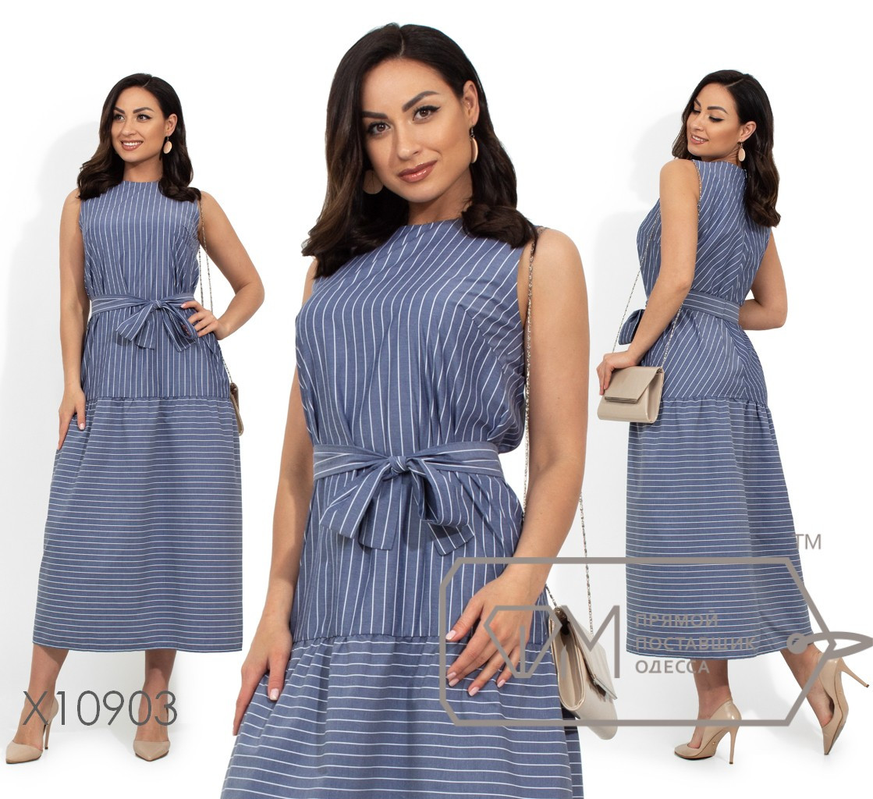 Платье-миди прямого кроя, под пояс, с отрезной заниженной талией и застежкой-молнией вдоль спинки X10903