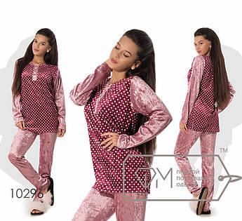 Домашний костюм из велюра - туника с принтованной основой, разрезами по бокам и вырезом на застёжке плюс прямые штаны 10296