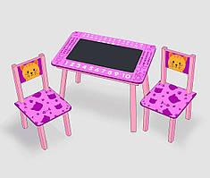 """Столик мини """"Котик"""" с меловой поверхностью + 2 стульчика, цвет розовый С 065 (60*46 см)"""