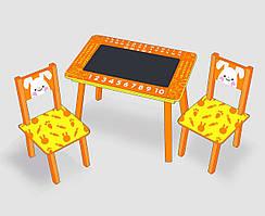 """Столик мини """"Зайчик""""с меловой поверхностью + 2 стульчика, цвет оранжевый С 024 (60*46 см)"""