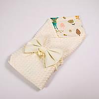 Демисезонный плюшевый конверт - одеяло на выписку BabySoon Лесные истории с плюшем молочного цвета 78 х 85см