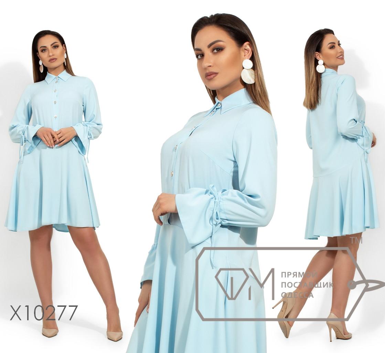 Корокое платье из легкой ткани с застежкой вдоль лифа, отрезное по талии и кулисками на рукавах X10277