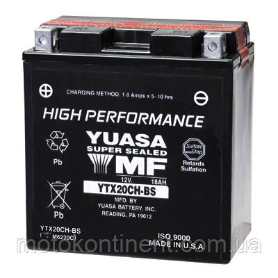 Акумулятор для мотоцикла YUASA YTX20CH-BS сухозаряженный AGM 18Ah 270A 150x87x161