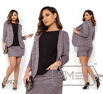 Костюм-двойка из ткани трикотаж петля - пиджак-блуза со вставкой-обманкой и юбка-шорты с карманами X9975