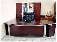 Стол руководителя с кожаной накладкой YDK3009