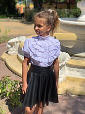 Юбка детская клеш из эко кожи 122-140 см синяя и черная, фото 3