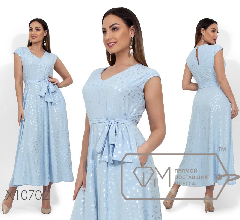 Платье-миди прямого кроя с серебряным напылением, V-образным вырезом, съемным поясом по отрезной талии и прорезными карманами по бокам X10702
