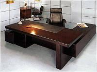 Стол руководителя с кожаной накладкой YDK306-Палисандр