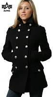 Женское стильное пальто Ladies Wool Long Peacoat (черное)