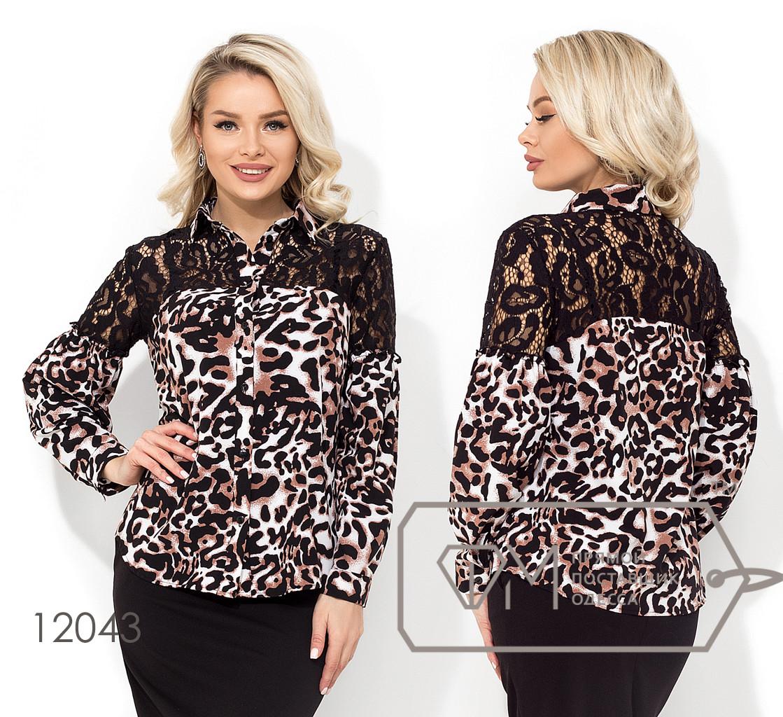 Рубашка-вестерн с леопардовым принтом и двустороней гипюровой кокеткой 12043