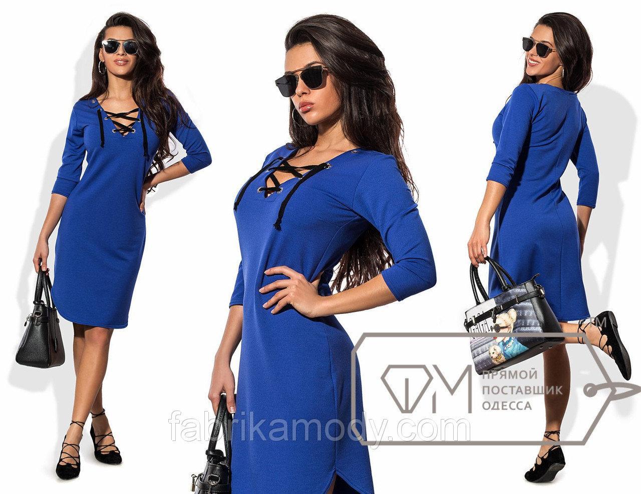 Платье-шемиза мини из двунитки с корсетным плетением глубокого V-выреза и рукавами три четверти 8440