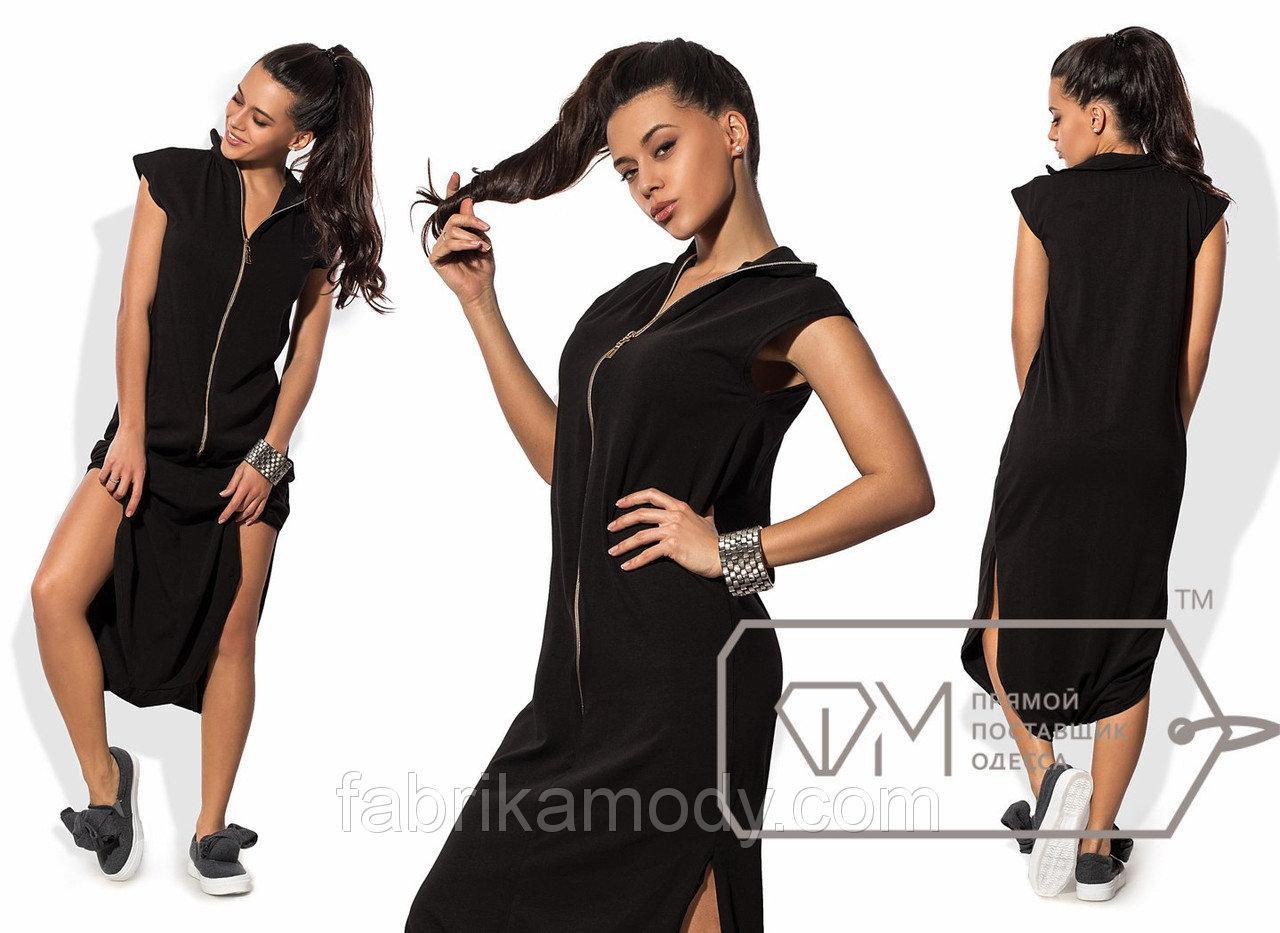 Платье-поло макси прямое из вискозы без рукавов с боковыми разрезами и молнией на воротнике-стойке 8448