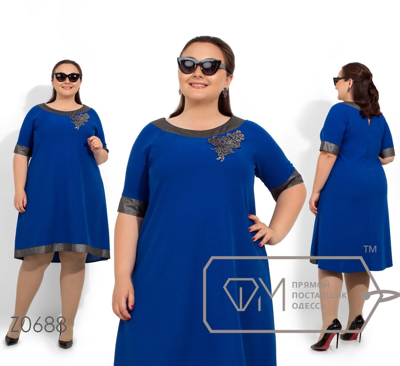 Платье-миди покроя трапеция с контрастной отделкой горловины, манжетах и подоле, нашивкой на груди и застежкой капелька по спинке Z0688