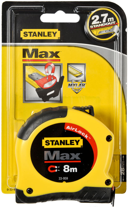 "Рулетка   8м х 28мм ""Max"" магнитная    STANLEY 0-33-959"
