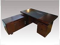Стол руководителя с кожаной накладкой YDK606