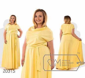 Платье в пол из софта с хомутом, коротким рукавом и резинкой по талии ( ткань просвечивается) Z0315