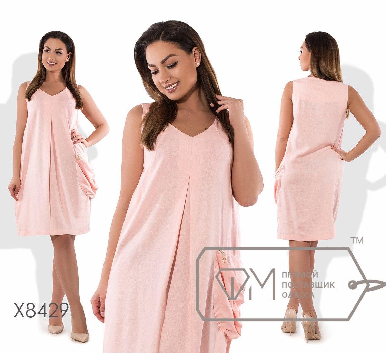 Платье-майка миди из льна расклешённое от груди без рукавов с V-вырезом и боковым объёмным карманом на молнии X8429