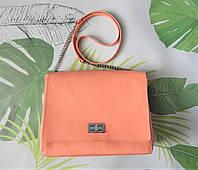 """Женская яркая сумка из кожи """"Lucky"""" цвет персик, фото 1"""
