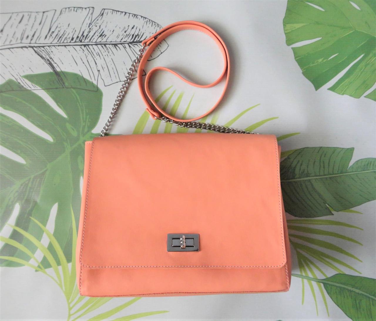 """Женская яркая сумка из кожи """"Lucky"""" цвет персик"""