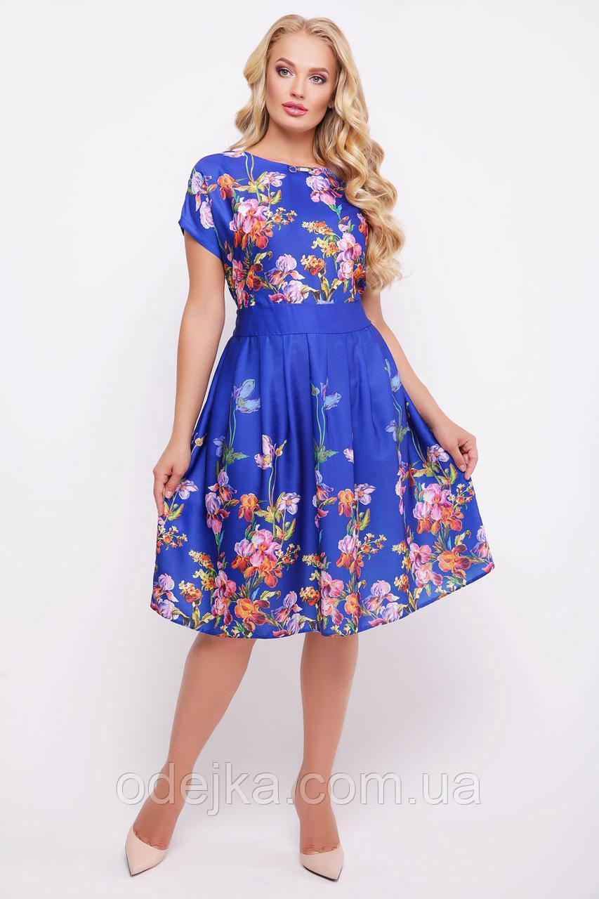 Платье большого размера Лорен, платье электрик, плаття великого розміру