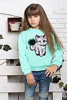 Свитшот детский Кошка, (2цв), кофта для девочки, дропшиппинг