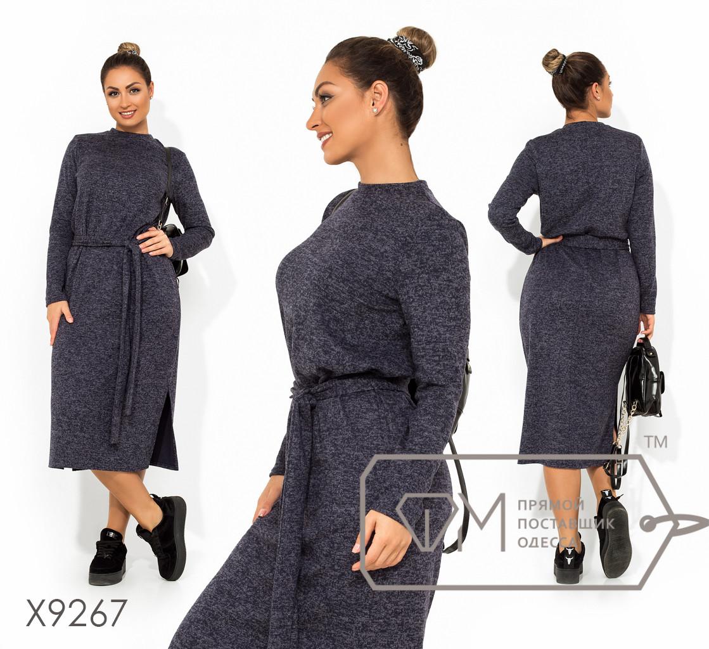 Платье-миди прямого кроя из ангоры-софт под поясок с длинными рукавами и разрезами по бокам на подоле X9267