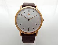Мужские часы Vacheron Constantin geneve, цвет корпуса gold, белый циферблат, lux копия