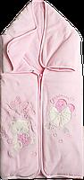 Конверт-одеяло велюровое на синтепоне для новородженных, розовое