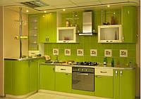 Салатовая и зеленая кухня на заказ. МДФ пленка