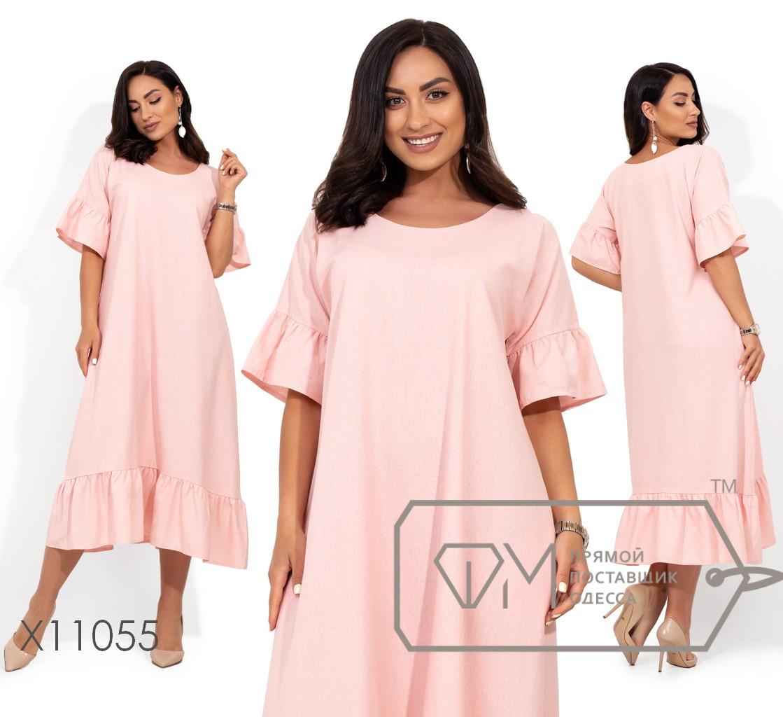 Цельнокроенное платье универсального размера с короткими рукавами-воланами и оборкой по подолу X11055