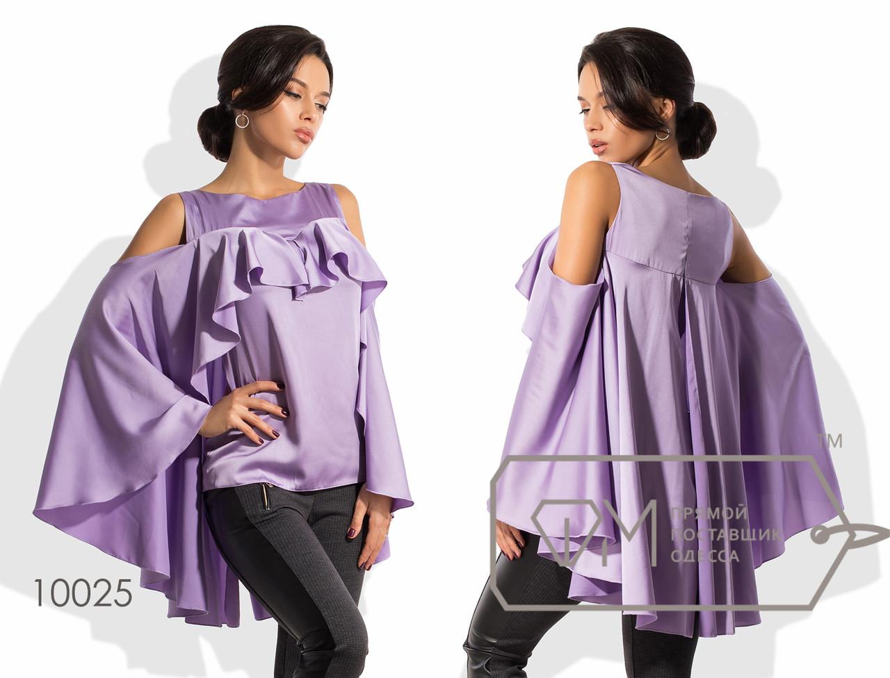 Блуза-кейп прямая из шёлка армани с оголёнными плечами и поперечной оборкой на груди, переходящей в асимметричную пелерину с разрезом сзади 10025