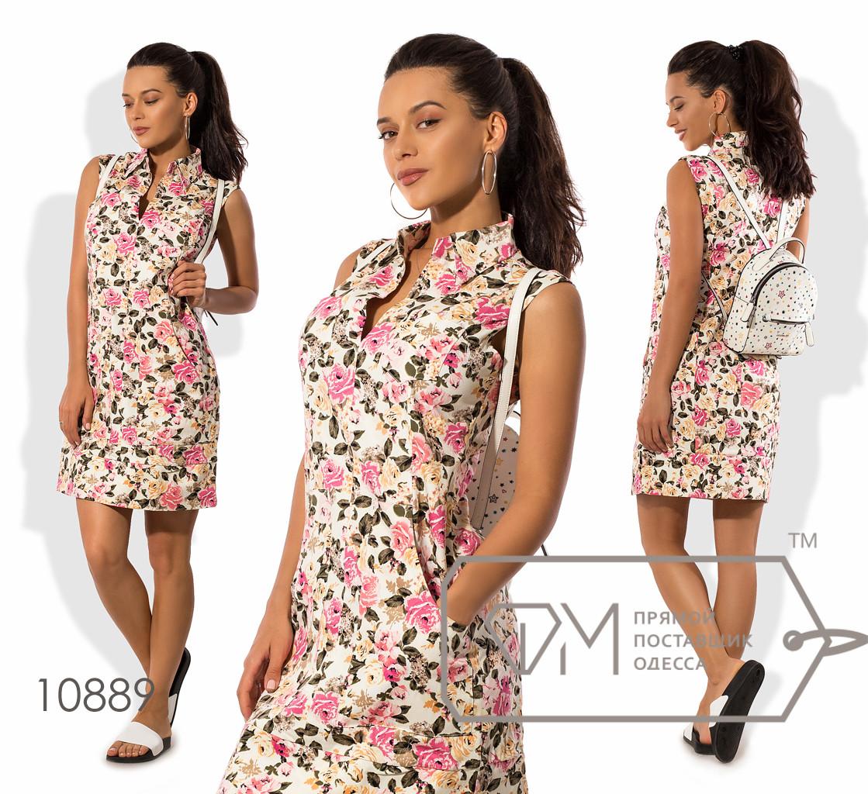 Платье-шифт мини прямого кроя из стрейч коттона с V-образным вырезом и воротником стойка (есть карманы и шов по лицевой строне) 10889