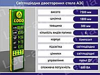 Световая рекламная стела для АЗС со светодиодными табло 7500 х 1800 мм