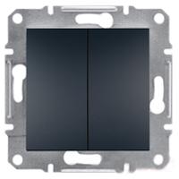 Выключатель двухклавишный самозажимные контакты   ASFORA Schneider Electric Антрацит