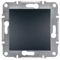 Выключатель  одноклавишный проходной самозажимные контакты   ASFORA Schneider Electric Антрацит