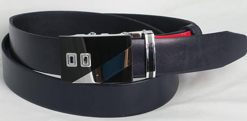 Брючный мужской кожаный ремень пряжка автомат Skipper 8796-1 синий ДхШ: 125х3,5 см.