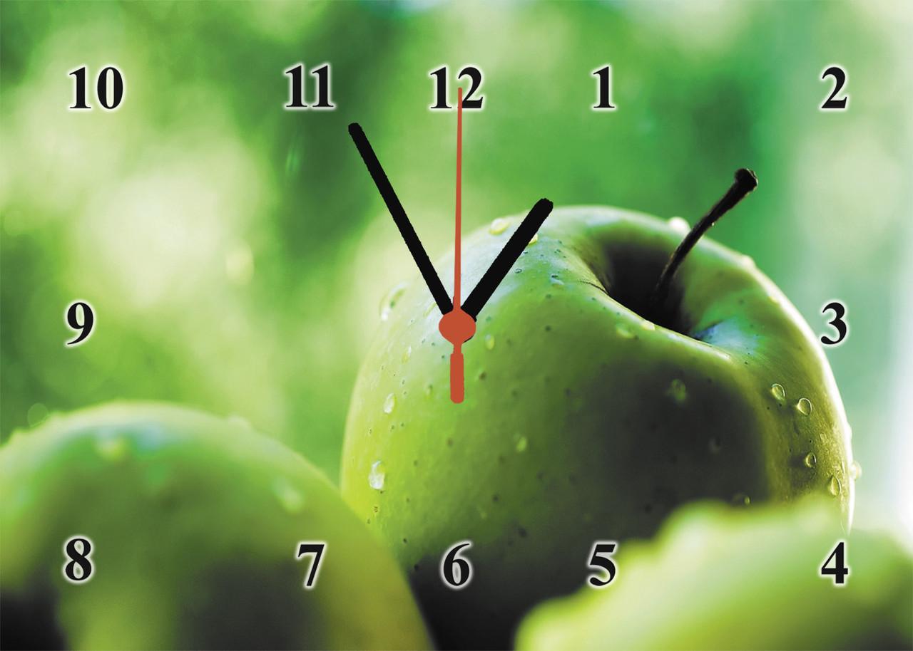 """Годинники настінні """"Зелені яблука на склі"""""""
