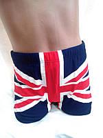 """Отличные шорты для  мальчика с рис """" Английский  флаг """" цвет  тёмно синий"""