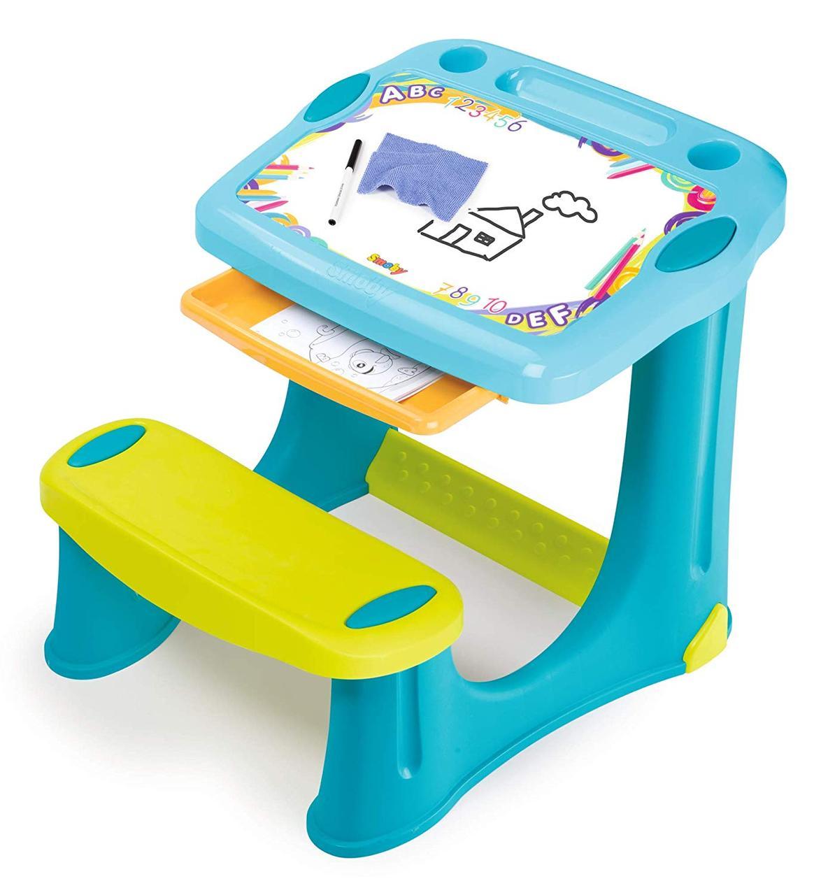 """Пластиковая парта-мольберт с выдвижным ящиком """"Магическая"""" Smoby, Blue 2+ (420218)"""