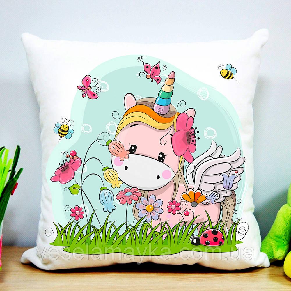 Подушка Единорог в бабочках
