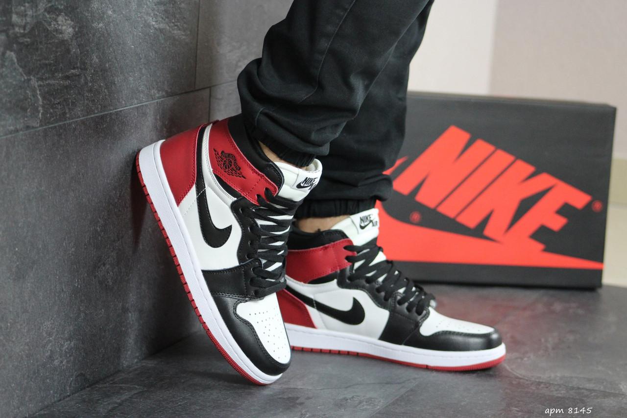 Мужские модные кроссовки  Nike Air Jordan 1 Retro High OG ,черные с белым и красным