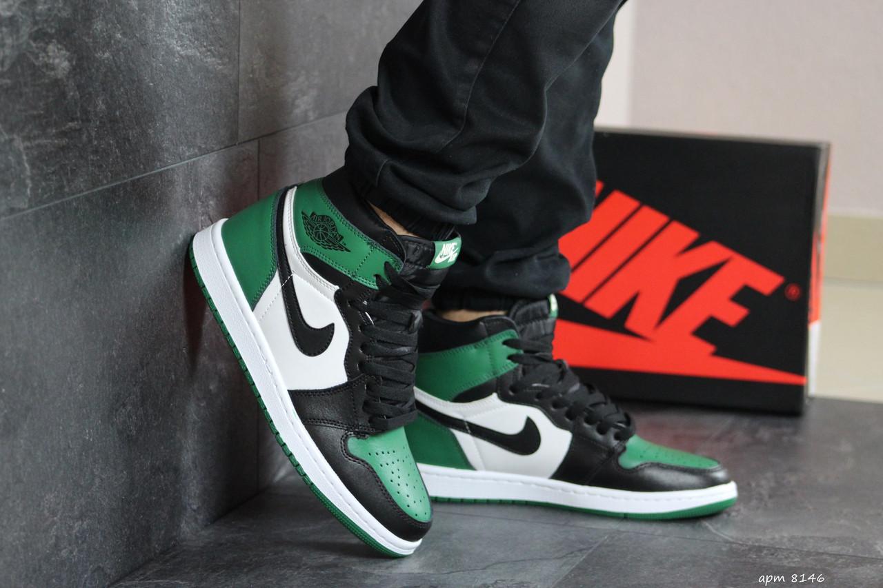 Мужские модные кроссовки  Nike Air Jordan 1 Retro High OG, черные с белым и зеленым