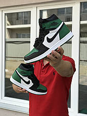 Мужские модные кроссовки  Nike Air Jordan 1 Retro High OG, черные с белым и зеленым, фото 2