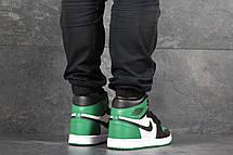 Мужские модные кроссовки  Nike Air Jordan 1 Retro High OG, черные с белым и зеленым, фото 3