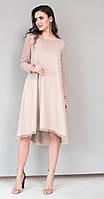 Платье Юрс-19-984-1 белорусский трикотаж, бежевый, 50