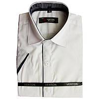 Рубашка для мальчика Verton c  коротким рукавом приталенная белая отделка черным