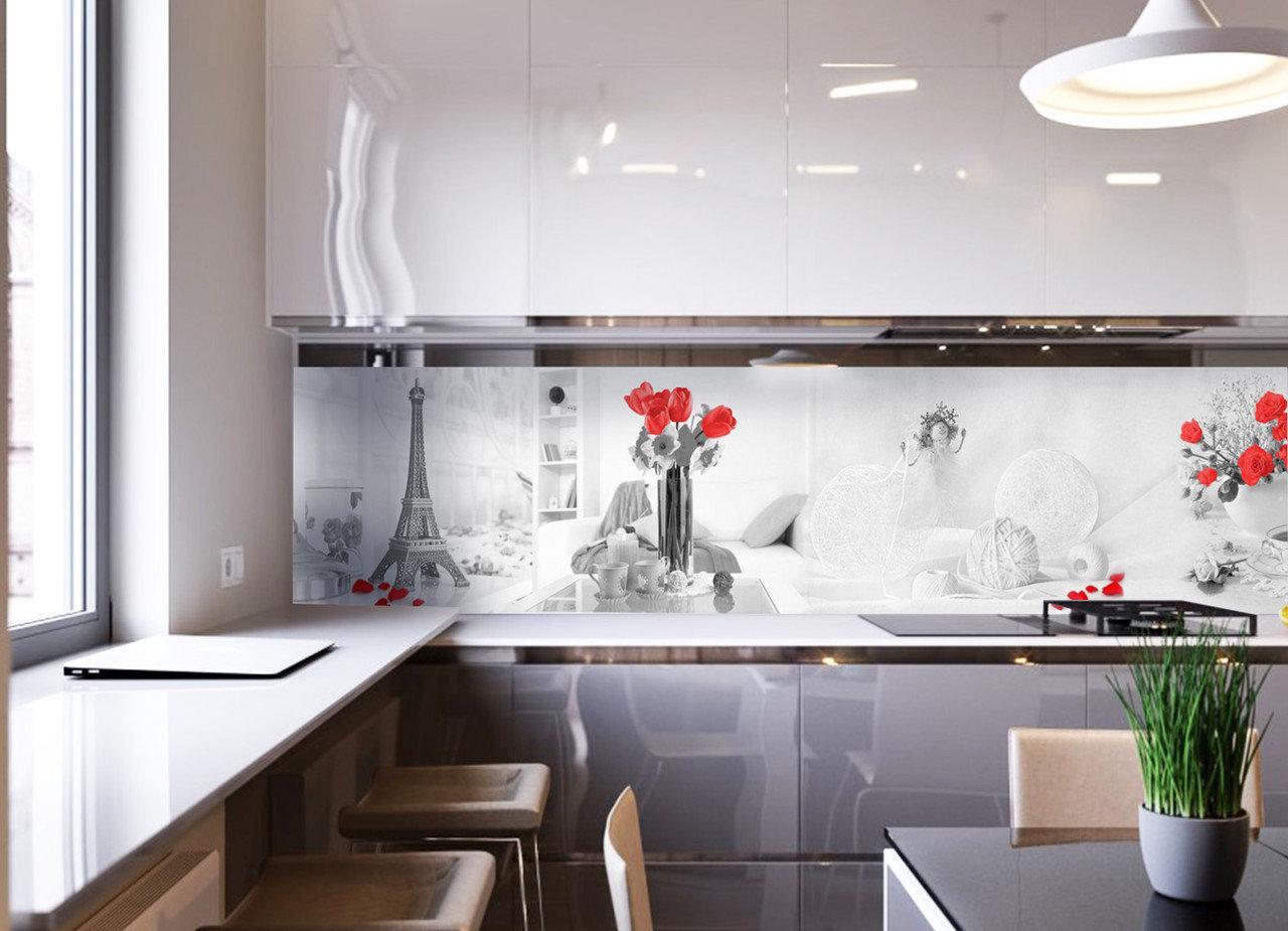 Кухонный фартук Домашний уют (фотопечать скинали, пленка для стеновых панелей, Франция, Эйфелева башня розы)600*2500 мм