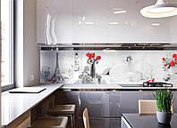 Кухонный фартук Домашний уют (фотопечать скинали, пленка для стеновых панелей, Франция, Эйфелева башня розы)600*2500 мм, фото 1
