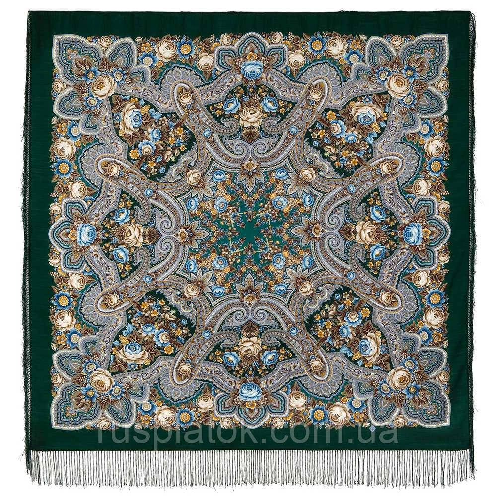 Подарок с ярмарки 1858-9, павлопосадский платок шерстяной  с шелковой бахромой